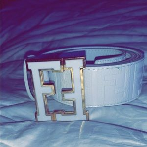 Fendi White/Gold Belt